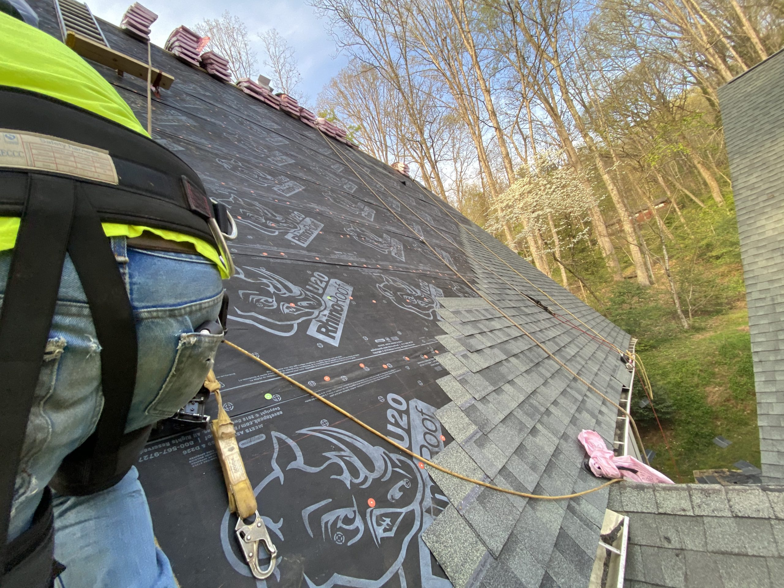 The process of installing the shingles.