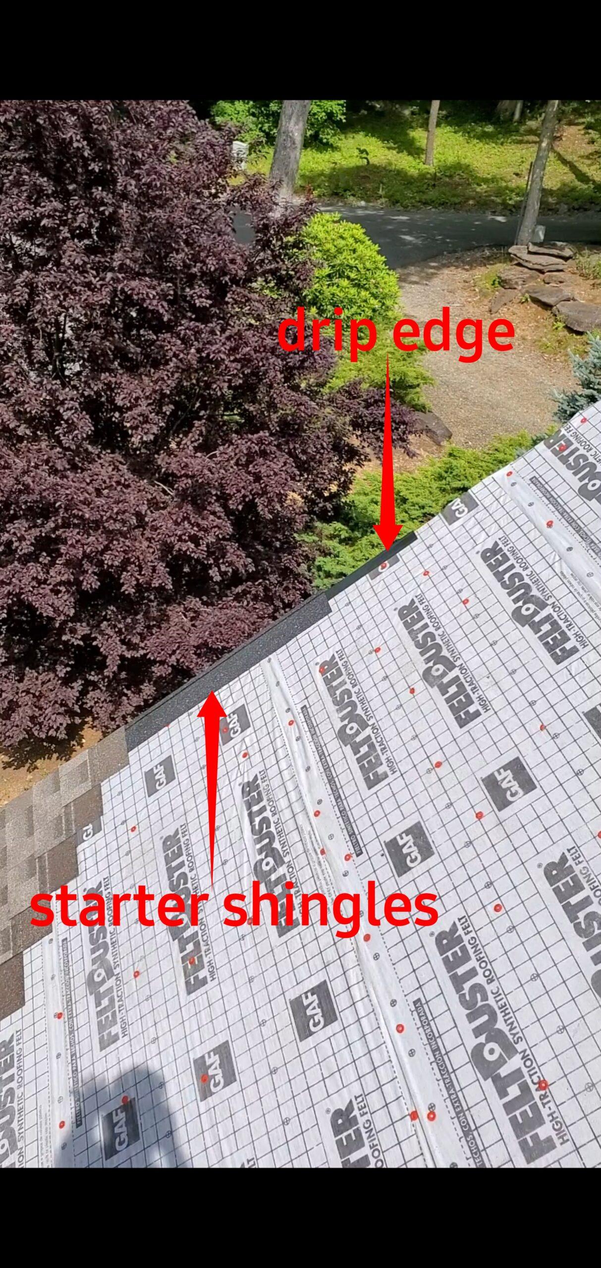 Starter shingles and drip edge