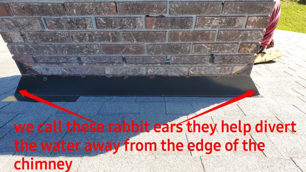 This is a marked up picture of the chimney and chimney flashing.