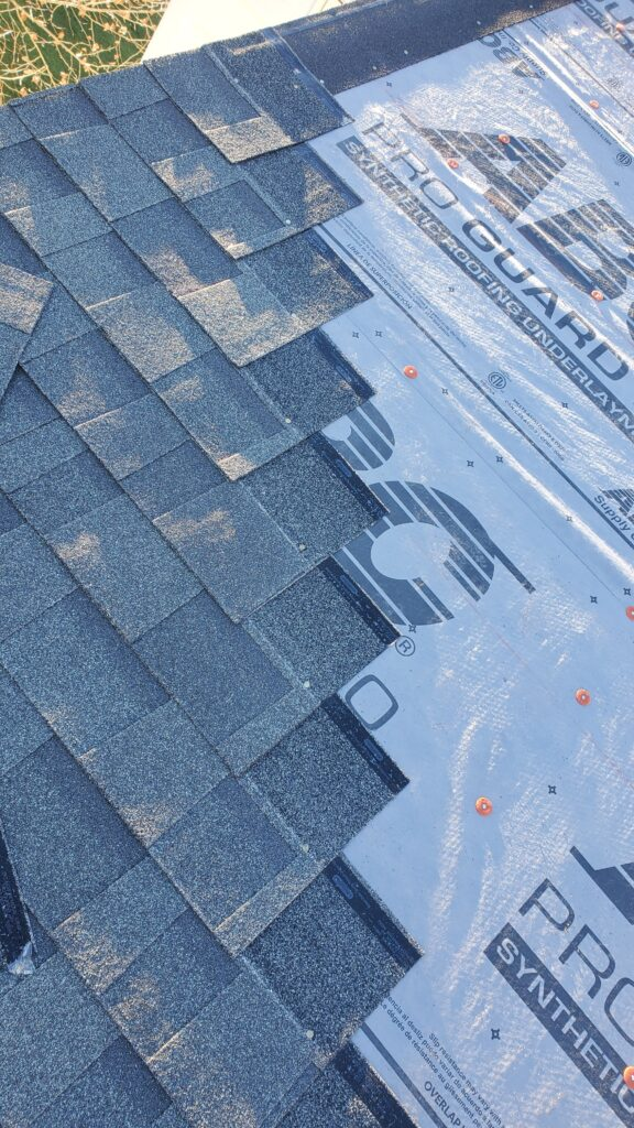 This is a view of the shingles stagger on the roof.