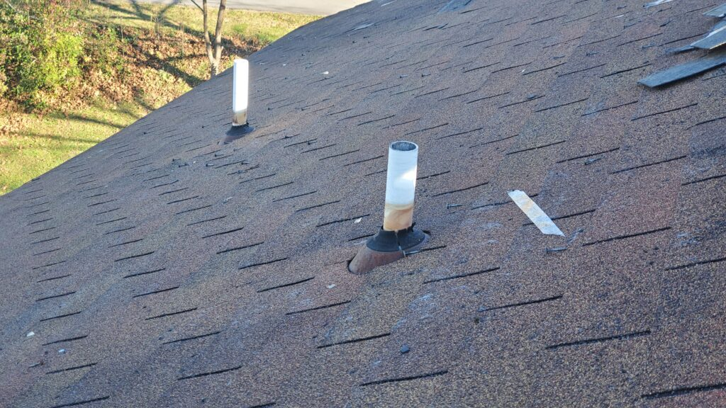 This is a picture of the roof showing the pipe boots on the roof.