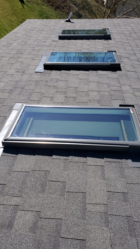 This is a view of the roof with 3 new Velux skylights.