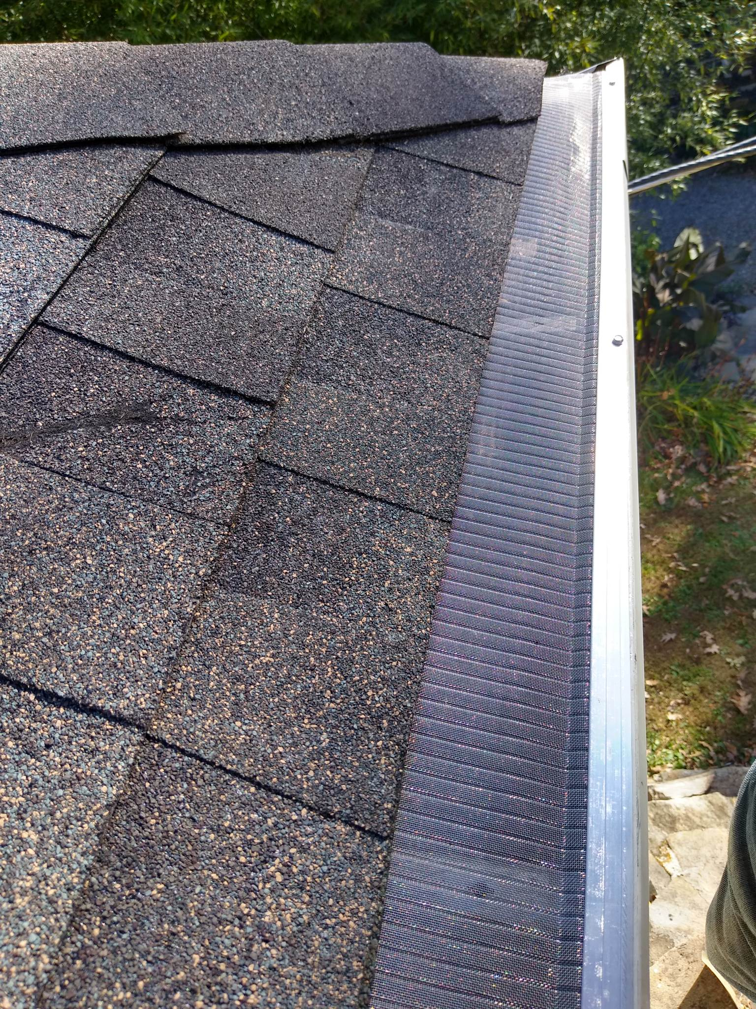 This is a picture of gray shingles and stainless steel gutter guards at the edge of a roof