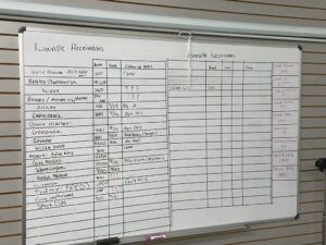 This is a picture of the receivables board for litespeed construction