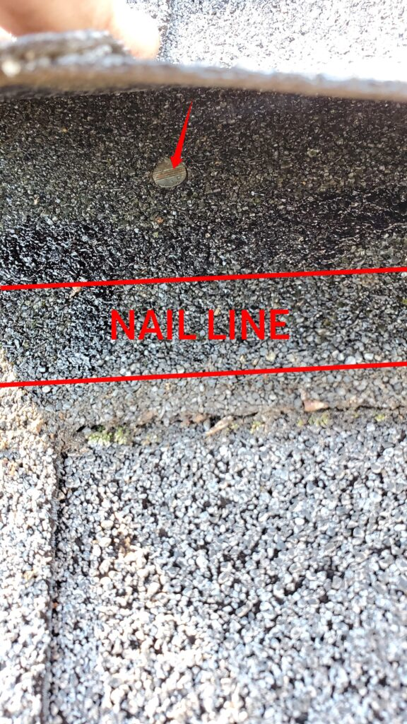 This is a up close picture of a shingle that has red lines on it And says nail line in between the lines